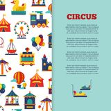 Amusement park circus banner design with icons. Amusement park circus banner poster design with icons. Vector illustration Stock Photos