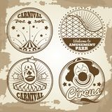 Amusement park circus carnival emblems on vintage background. Vector illustration Royalty Free Stock Photography