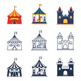 Amusement park circus carnival icons collection. Amusement park color tents circus carnival icons collection. Vector illustration Stock Image