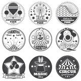 Amusement park, circus and carnival vector vintage emblems and labels Stock Photo