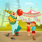 Amusement Park Circus Clown Flat Illustration. Traveling circus on amusement park fairground with clown with red balloon performing for kids retro vector Royalty Free Stock Photo