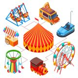 Amusement park and circus isometric vector concept. Illustration of amusement carnival, circus isometric festival royalty free illustration