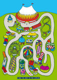 Amusement Park and Circus Maze Game. Find the Way to the Circus Royalty Free Stock Photography