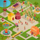 Circus Amusement Park Isometric Illustration. Amusement park with circus and various attractions street food adults and kids isometric vector illustration royalty free illustration