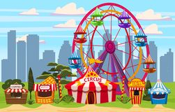 Amusement park, a cityscape with a circus, carousels, carnival, attraction and entertainment, ice cream stall, drinks. Amusement park, a cityscape with a circus vector illustration
