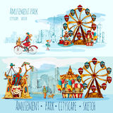 Amusement Park Cityscape. Amusement park sketch cityscape horizontal banners with people ferris wheel and city on background vector illustration Stock Photography
