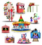 Amusement Park cliparts. Vector collection of amusement park or fun fair icons and clip arts isolated on a white background Stock Photography