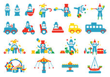 Amusement park clown icons sets Stock Photography