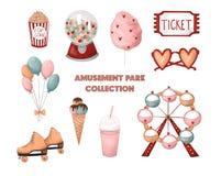 Amusement park collection. Ferris wheel, cotton candy, popcorn, ice cream and sweets, milkshake