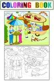 Amusement park color pages for children. Hot dog. Food Truck raster. Color, black and white. Amusement park color pages for children. Hot dog. Food Truck raster vector illustration