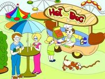 Amusement park color pages for children. Hot dog. Food Truck raster. Illustration vector illustration