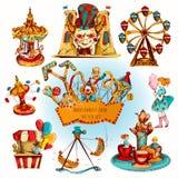 Amusement Park Colored Set. Amusement kids entertainment park decorative icons colored set isolated vector illustration Royalty Free Stock Image