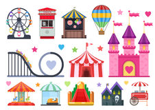 Amusement Park Colorful Objects Set. With extreme and inflatable attractions circus tent street food isolated vector illusration stock illustration