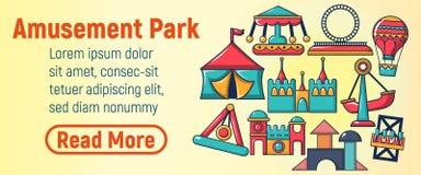 Amusement park concept banner, cartoon style stock illustration