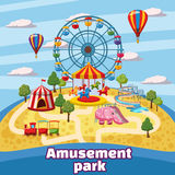 Amusement park concept, cartoon style Royalty Free Stock Photo