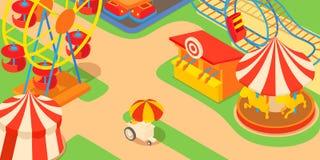 Amusement park concept, cartoon style. Amusement park concept. Cartoon illustration of amusement park vector concept for web Royalty Free Stock Image