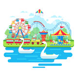 Amusement park concept with ferris wheel and carousels. Vector illustration in flat style Stock Photo