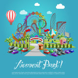 Amusement park concept with flat fairground elements on background. Stock Photo