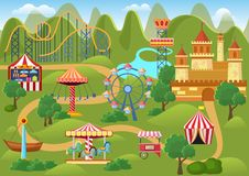 Amusement park concept landscape map with flat fairground elements, castle, mountains cartoon vector illustration. royalty free illustration