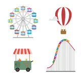 Amusement park concept. Roller coaster, hot balloon, wheel, street food Stock Image