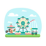 Amusement Park Concept. Vector royalty free illustration