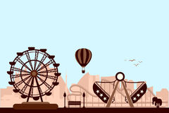 The Amusement Park. Concept of The Amusement Park vector in silhouette style stock illustration