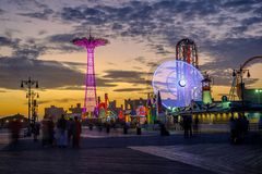 Amusement park in Coney Island, Brooklyn stock image