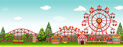 Amusement park at day time. Illustration vector illustration