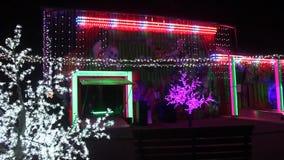 Amusement park decorated night stock footage