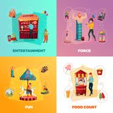 Amusement Park 2x2 Design Concept. People in amusement park 2x2 design concept with entertainment force fun and food court square icons cartoon vector Royalty Free Stock Photos