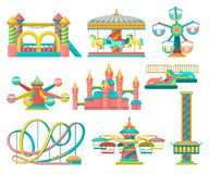 Amusement park design elements set, merry go round, inflatable trampoline, free fall tower, castle, carousel with horses. Roller coaster vector Illustration stock illustration