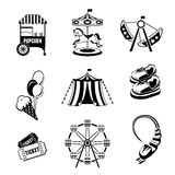 Amusement park elements. Amusement entertainment park black and white  icons set isolated vector illustration Stock Images