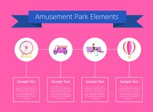 Amusement Park Elements Poster Vector Illustration. Amusement park elements, headline on ribbon and text sample, in boxes, images of ferris wheel, and cotton Royalty Free Stock Photo