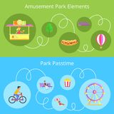 Amusement Park Elements Set Vector Illustration. Amusement park elements and passtime, set of images, bench and ferris wheel, kid on bicycle, hotdog and pop corn Stock Image