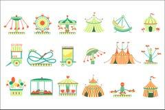 Amusement Park Elements Set Of Cartoon Style Flat Vector Illustrations Isolated On White Background. Amusement Park Elements Set Of Cartoon Style Flat Vector vector illustration