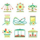 Amusement Park Elements Set. Of Cartoon Style Flat Vector Illustrations  On White Background Stock Image