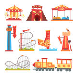 Amusement Park Elements Set, Funfair Attraction Colorful Cartoon Vector Illustrations Royalty Free Stock Image