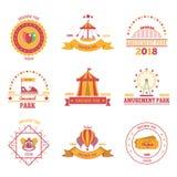Amusement Park Emblems Set. Amusement park colourful emblems set of nine flat compositions with pavilion aerostat and fairground attraction images vector royalty free illustration