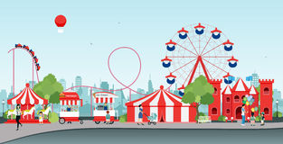 Amusement park. With Ferris wheel and balloon stock illustration