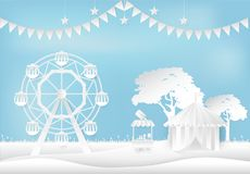 Amusement park with ferris wheel and circus pavilion paper art. Style Stock Photography