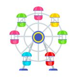 Amusement park ferris wheel. Ferris wheel in the amusement park. Flat vector cartoon illustration. Objects isolated on white background Royalty Free Stock Image