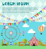 Amusement park, ferris wheel, festival, carnival, balloon. Tent on the market. Farm products, lemonade, lemons in wooden box. Flat illustration vector. Concept Stock Photography