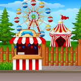 Amusement park with ferris wheel, ticket booth and circus tent. Illustration of Amusement park with ferris wheel, ticket booth and circus tent Royalty Free Stock Image