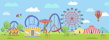 Amusement Park in flat colorful  style stock illustration