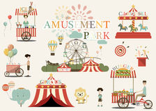 Amusement Park in flat colorful. vector Stock Images