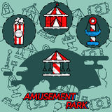 Amusement park flat concept icons. Amusement park flat icons set with attractions isolated vector illustration Stock Photo