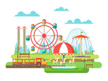 Amusement park flat design Royalty Free Stock Photography
