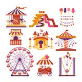 Amusement park flat elements with carousels, waterslides, balloons, flags, inflatable trampoline castle, ferris wheel. Mobile kiosk with sweets, catapult Royalty Free Stock Photo