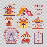 Amusement park flat elements with carousels, waterslides, balloons, flags, inflatable trampoline castle, ferris wheel. Mobile kiosk with sweets, catapult on vector illustration
