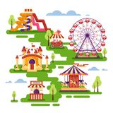 Amusement park flat elements with carousels, waterslides, balloons, inflatable trampoline castle, ferris wheel, mobile. Kiosk with sweets. Set family vector illustration